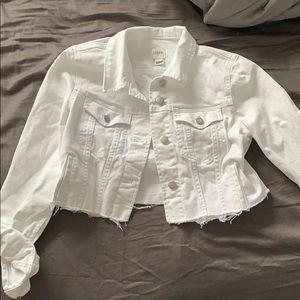 New j crew cropped white jean jacket